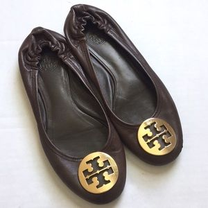 Tory Burch | Minnie Flat Brown Leather Size 9